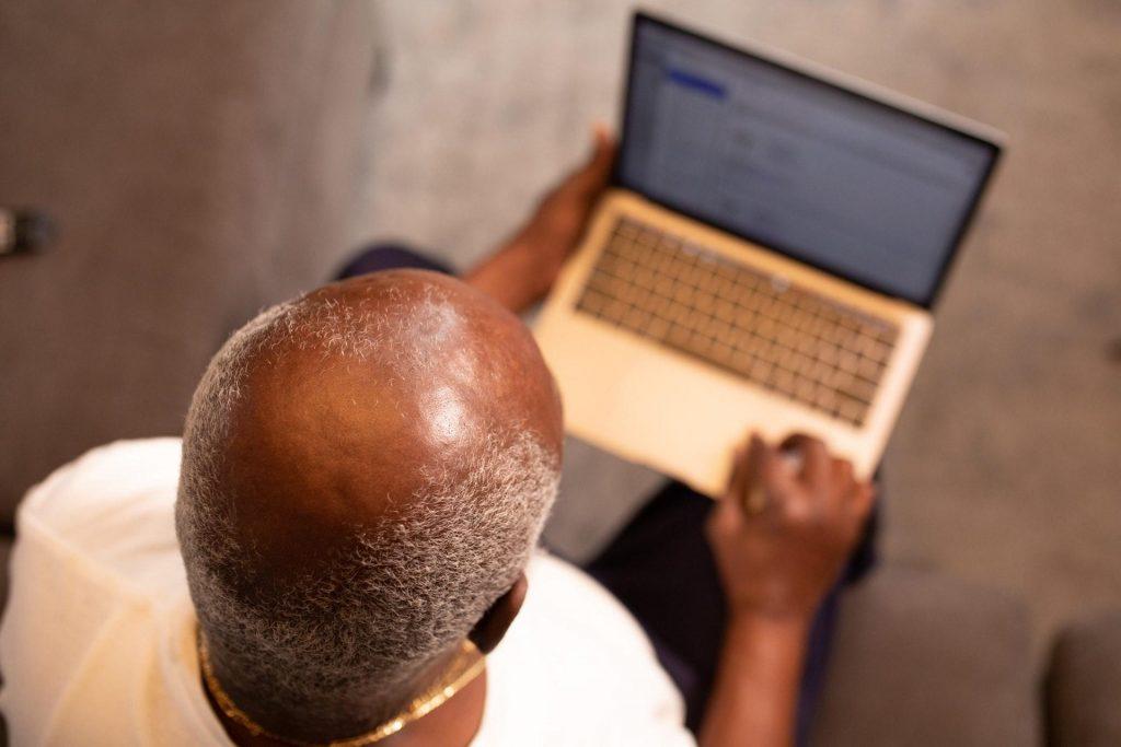Elder Man working